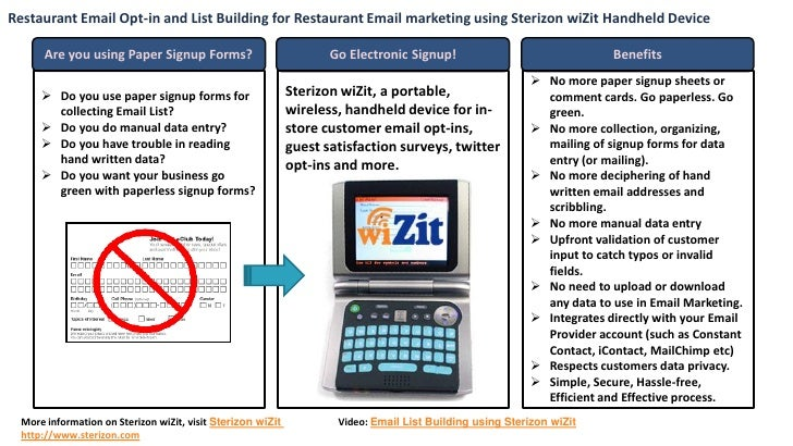 Restaurant Email Opt-in and List Building for Restaurant Email marketing using Sterizon wiZit Handheld Device         Are ...
