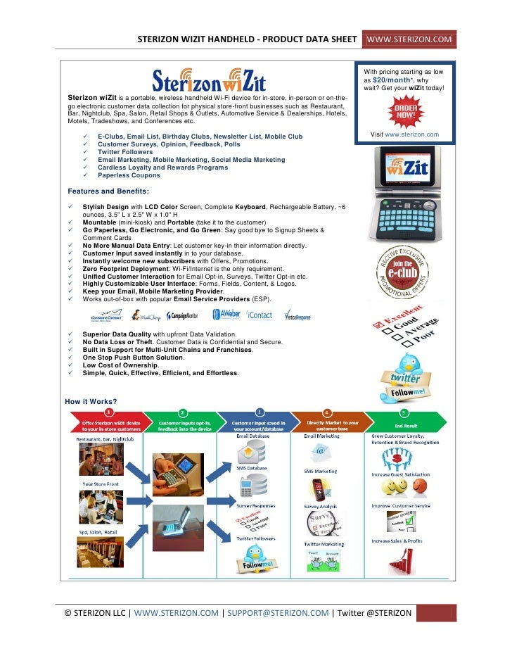 STERIZON WIZIT HANDHELD - PRODUCT DATA SHEET WWW.STERIZON.COM                                                             ...