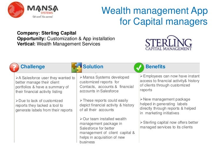 Wealth management App                                                         for Capital managers    Company: Sterling Ca...