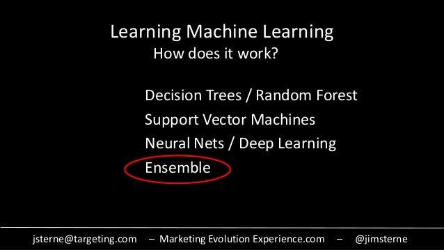 jsterne@targeting.com – Marketing Evolution Experience.com – @jimsterne Learning Machine Learning Decision Trees / Random ...
