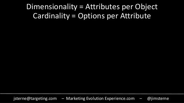 jsterne@targeting.com – Marketing Evolution Experience.com – @jimsterne Dimensionality = Attributes per Object Cardinality...