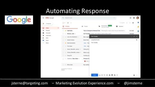 jsterne@targeting.com – Marketing Evolution Experience.com – @jimsterne Automating Response