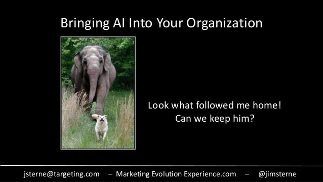 jsterne@targeting.com – Marketing Evolution Experience.com – @jimsterne Bringing AI Into Your Organization Look what follo...