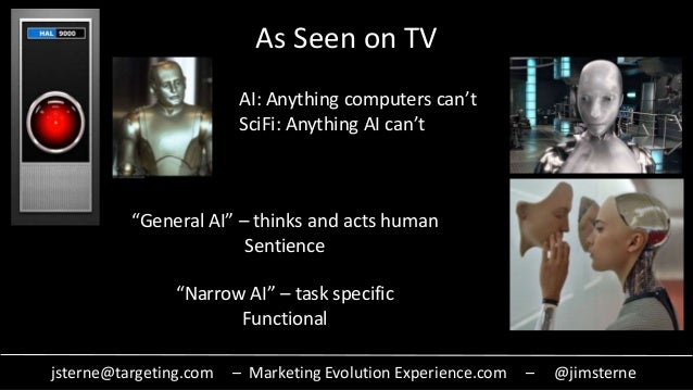 jsterne@targeting.com – Marketing Evolution Experience.com – @jimsterne As Seen on TV AI: Anything computers can't SciFi: ...