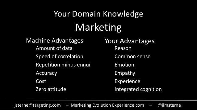 jsterne@targeting.com – Marketing Evolution Experience.com – @jimsterne Your Domain Knowledge Marketing Amount of data Spe...