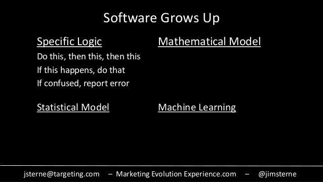 jsterne@targeting.com – Marketing Evolution Experience.com – @jimsterne Software Grows Up Specific Logic Mathematical Mode...