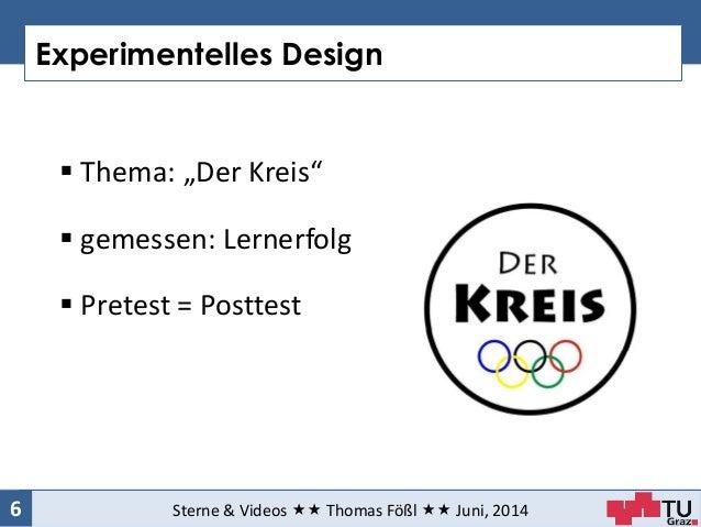 "Experimentelles Design Sterne & Videos  Thomas Fößl  Juni, 20146  Thema: ""Der Kreis""  gemessen: Lernerfolg  Pretest..."