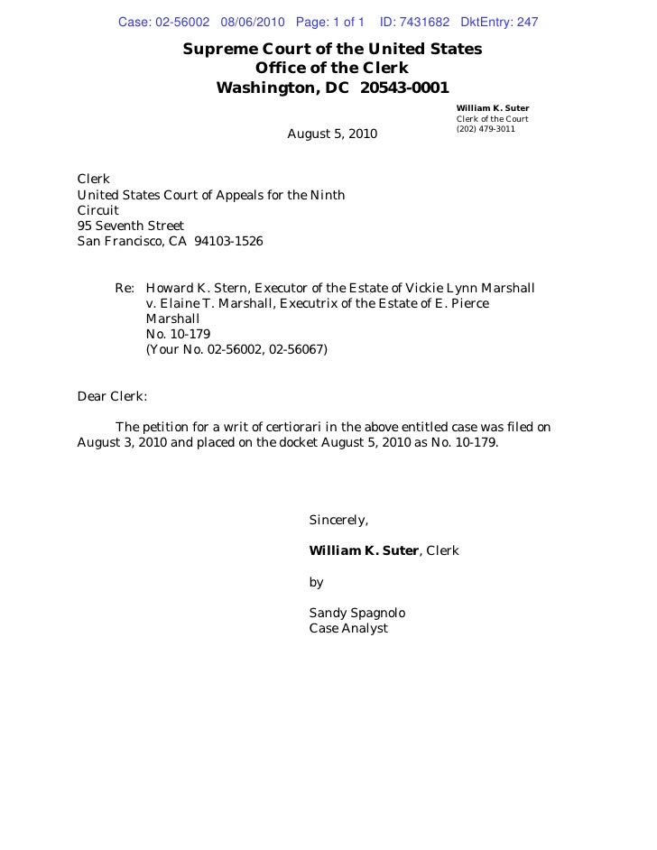 Case: 02-56002 08/06/2010 Page: 1 of 1        ID: 7431682 DktEntry: 247                    Supreme Court of the United Sta...