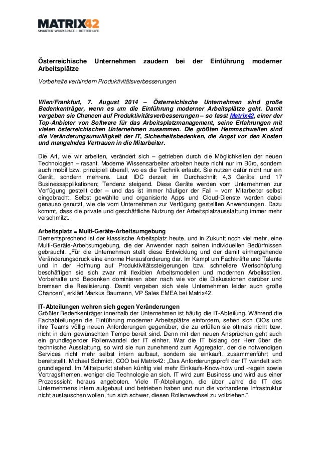 Österreichische Unternehmen zaudern bei der Einführung moderner Arbeitsplätze Vorbehalte verhindern Produktivitätsverbesse...
