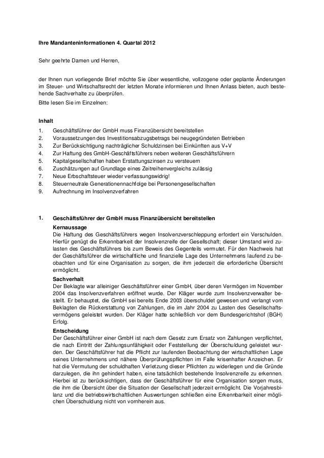 Ihre Mandanteninformationen 4. Quartal 2012Sehr geehrte Damen und Herren,der Ihnen nun vorliegende Brief möchte Sie über w...