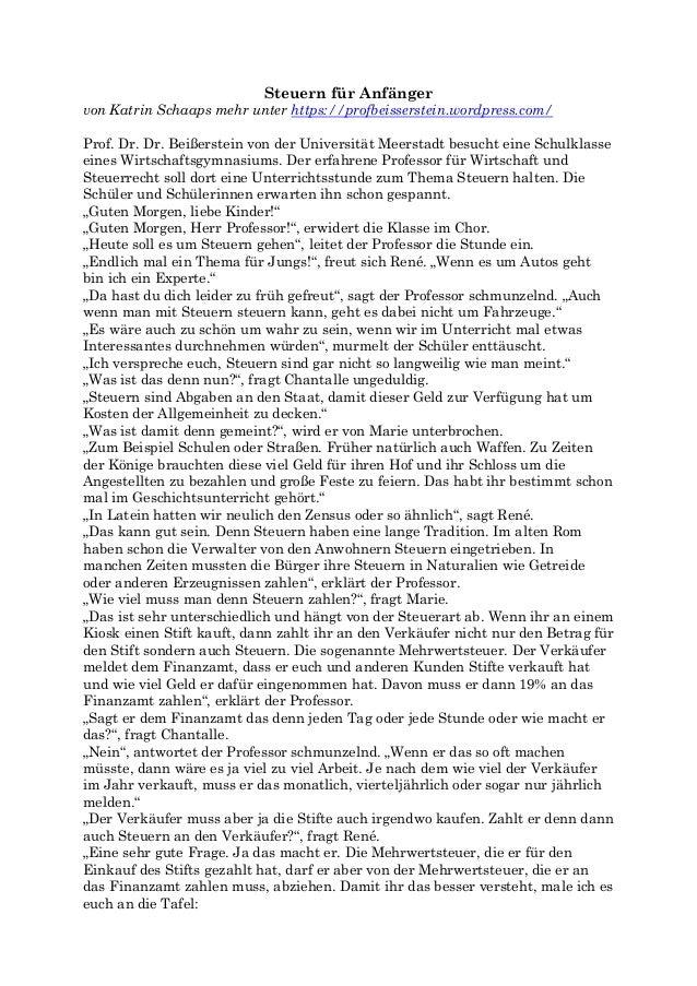 Steuern für Anfänger von Katrin Schaaps mehr unter https://profbeisserstein.wordpress.com/ Prof. Dr. Dr. Beißerstein von d...