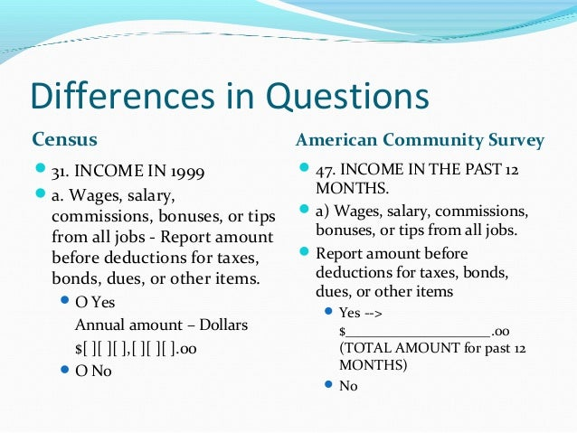 community survey The american community survey (acs) is an ongoing survey by the us census bureau it regularly gathers information previously contained only in.