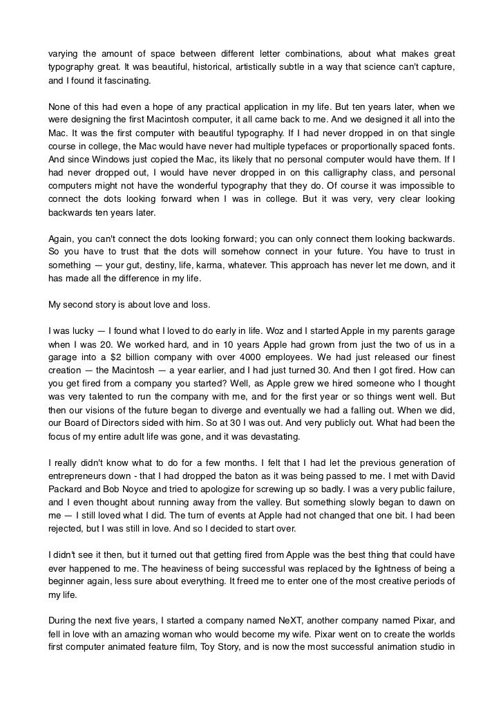 steve jobs speech example Essay steve jobs stanford university speech analysis  think of examples of  speeches you have seen that did not take into account the.