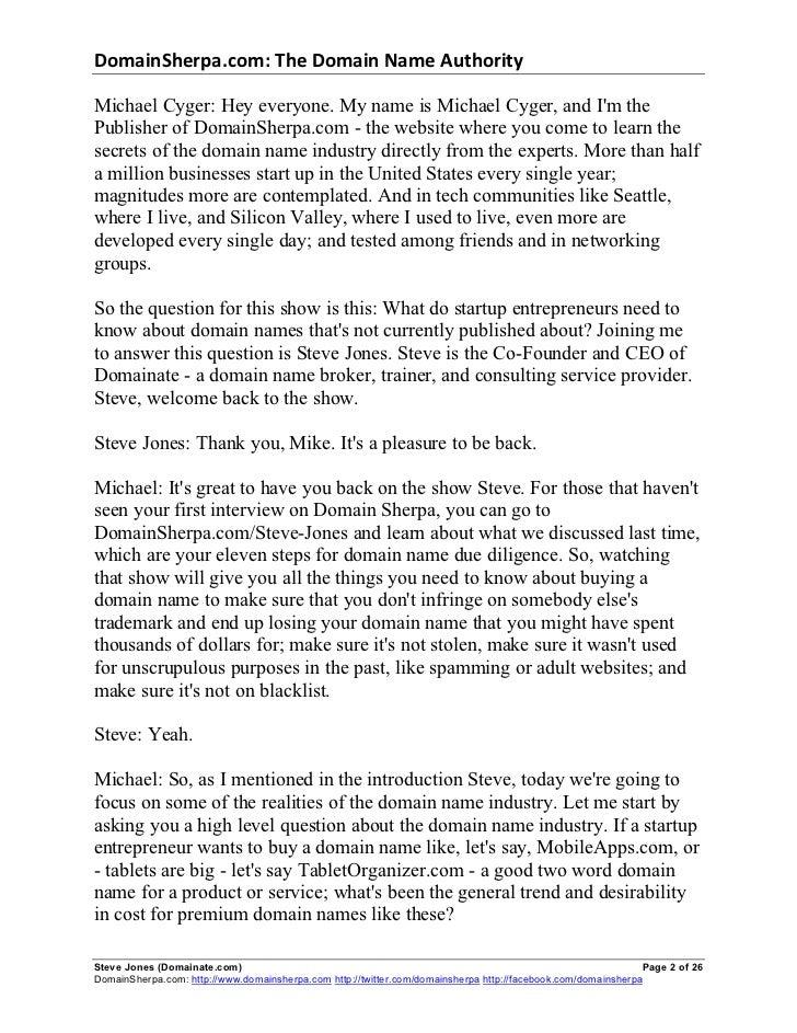 DomainSherpa.com: The Domain Name Authority Michael Cyger: Hey everyone. My name is Michael Cyger, and Im thePub...
