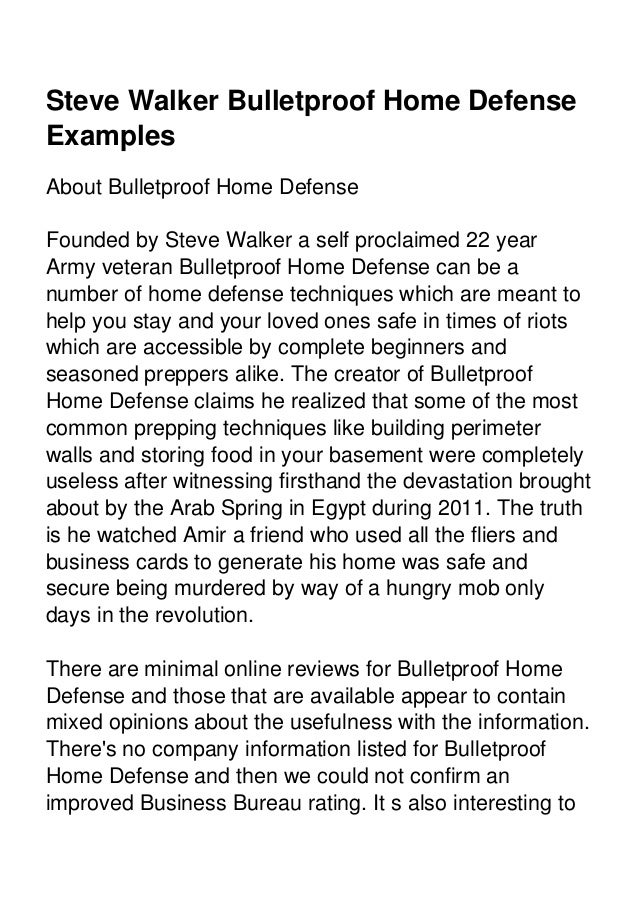 Steve walker bulletproof home defense examples download bulletproof home defense e book at the last page 2 fandeluxe Choice Image