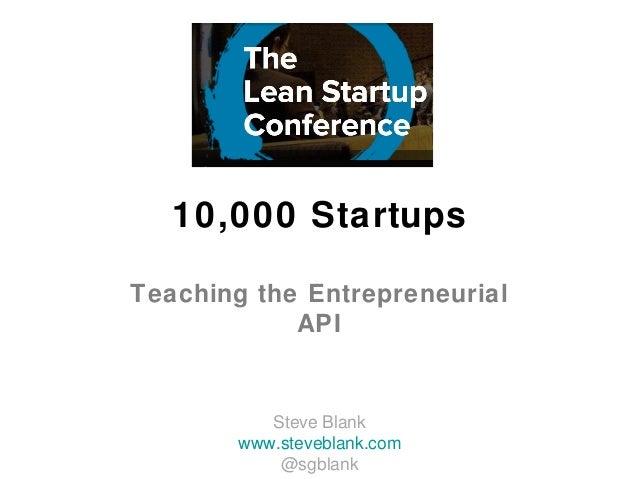 10,000 StartupsTeaching the Entrepreneurial            API          Steve Blank       www.steveblank.com           @sgblank