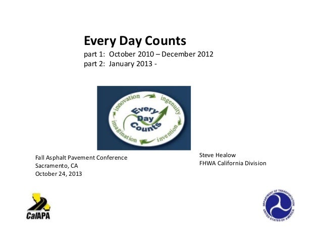 Every Day Counts part 1: October 2010 – December 2012 part 2: January 2013 -  Fall Asphalt Pavement Conference Sacramento,...