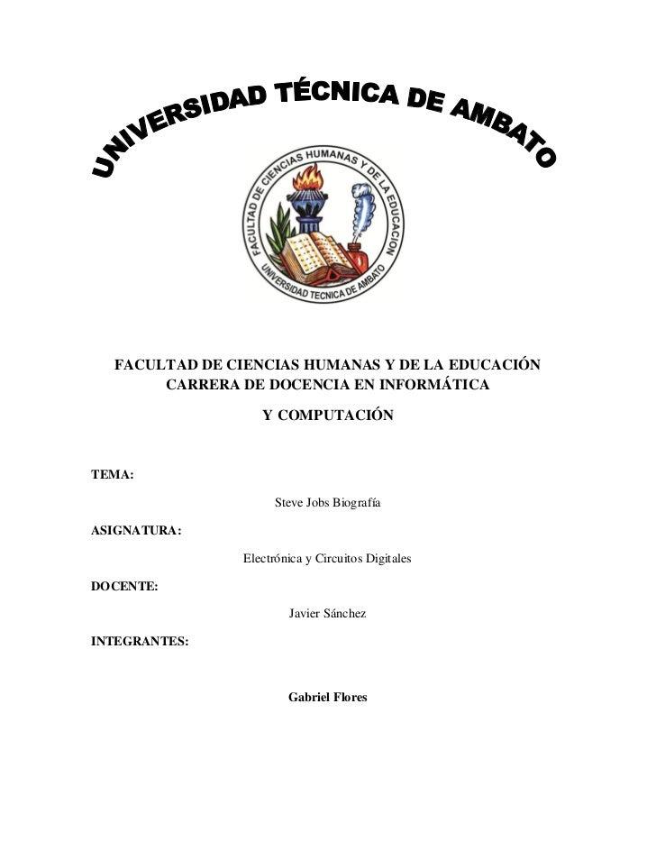 FACULTAD DE CIENCIAS HUMANAS Y DE LA EDUCACIÓN       CARRERA DE DOCENCIA EN INFORMÁTICA                  Y COMPUTACIÓNTEMA...