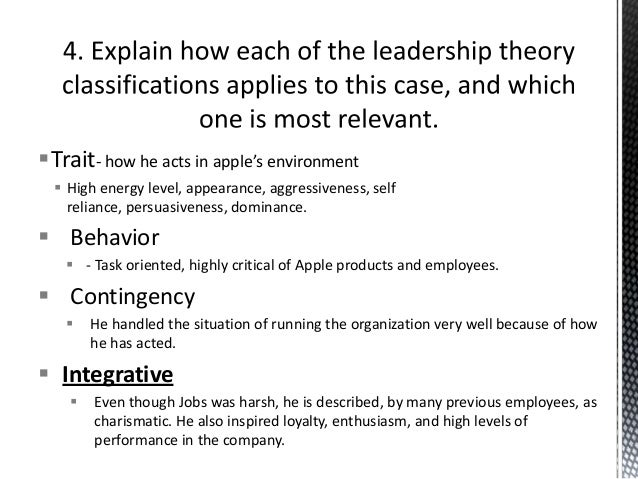 Relevant leadership theories in relation to steve jobs