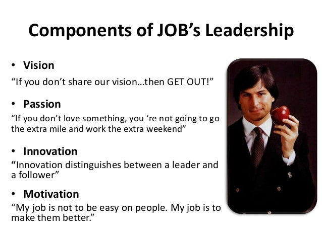 steve jobs as an example of a great leader Leadership traits of steve jobs  there is always one water cooler moment in steve jobs presentation for example, when jobs unveiled the macbook air, what do .