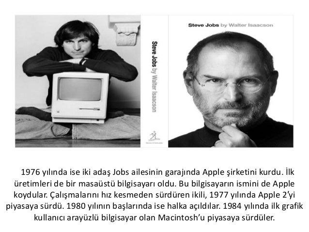 1976 yılında ise iki adaş Jobs ailesinin garajında Apple şirketini kurdu. İlküretimleri de bir masaüstü bilgisayarı oldu. ...