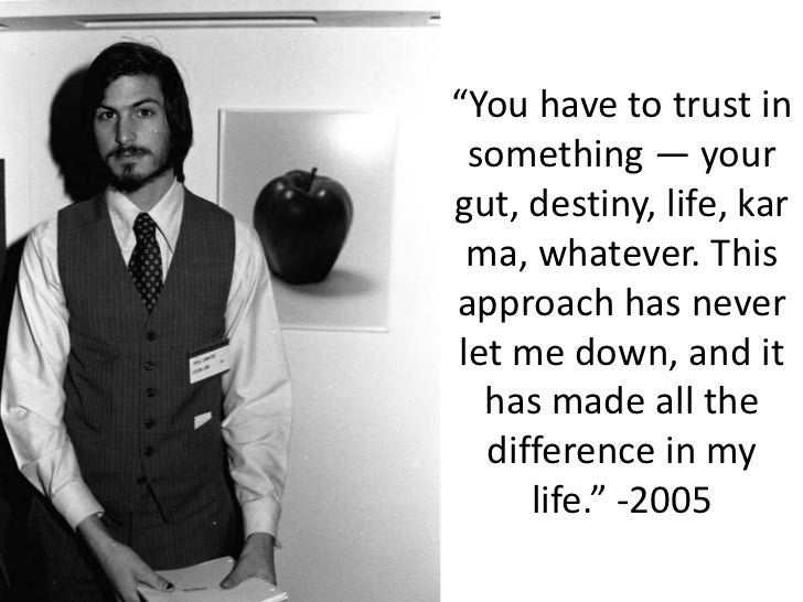 """""""You have to trust in something — your gut, destiny, life, karma, whatever. This approach has never let me down, and it ha..."""