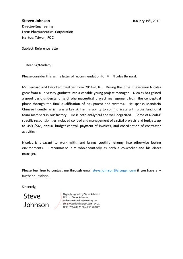 steve johnson  lotus-coo  - reference letter