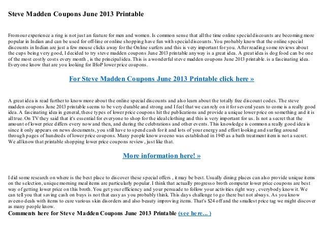 evolución cansada fiabilidad  Steve madden coupons june 2013 printable