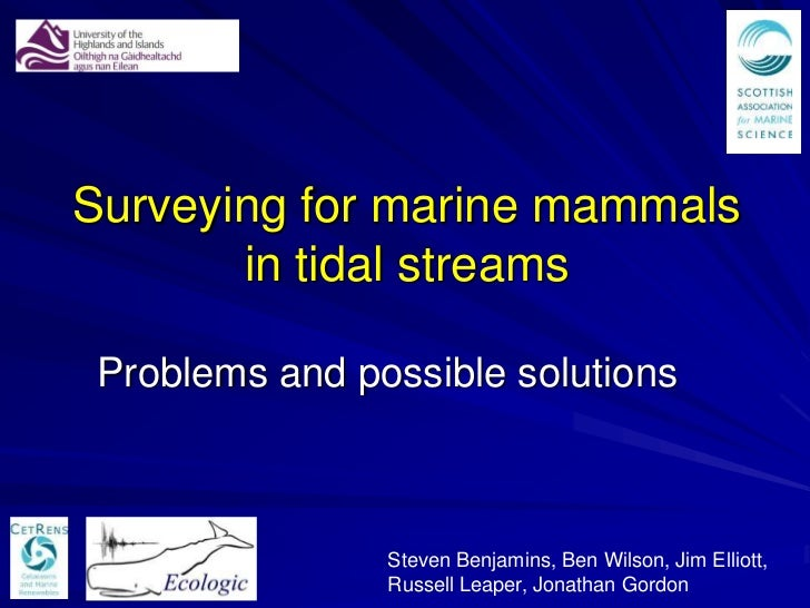 Surveying for marine mammals       in tidal streams Problems and possible solutions                Steven Benjamins, Ben W...