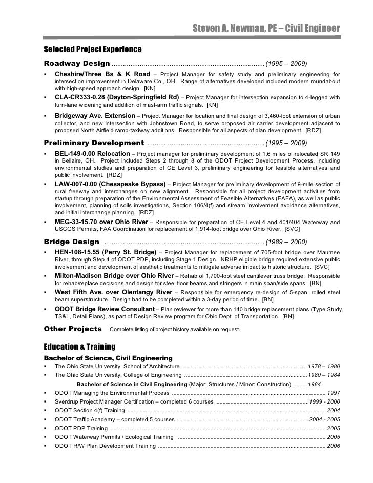 Civil Engineer Resume: Steve Newman