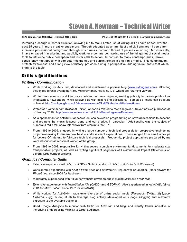 Technical Writer Resume: Steve Newman