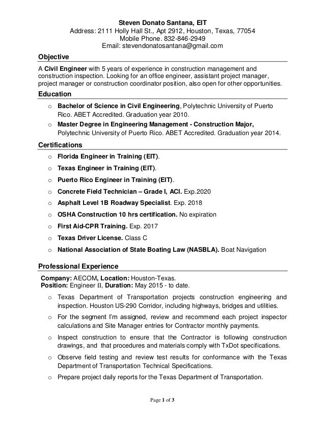 steven donato  civil engineer resume  3 19