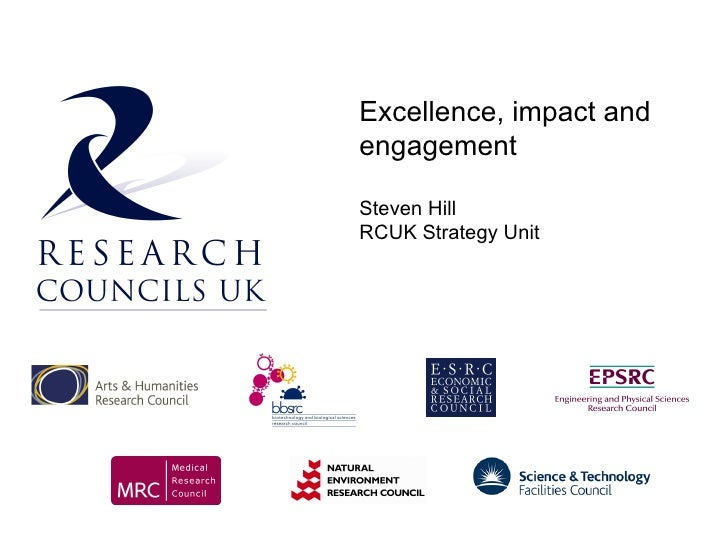 Excellence, impact and engagement  Steven Hill RCUK Strategy Unit