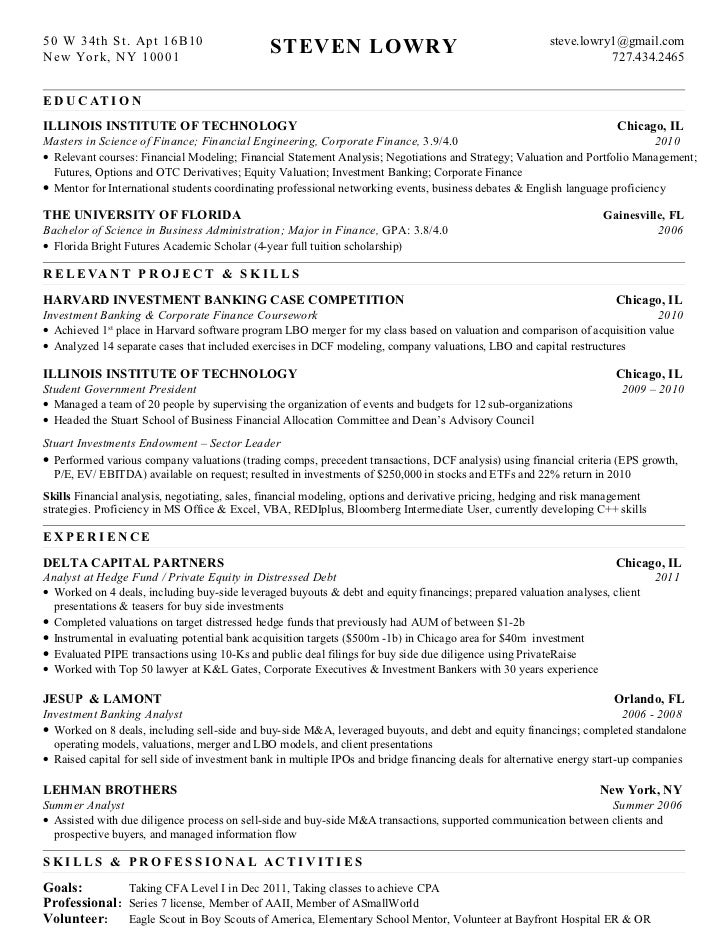 Cover Letter For Resume Investment Banking