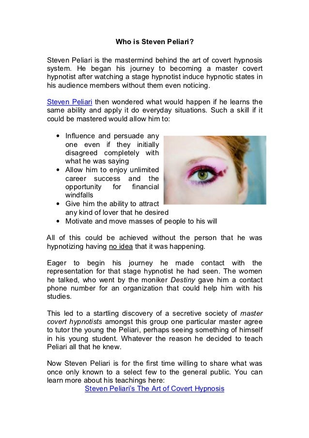 THE ART OF COVERT HYPNOSIS STEVEN PELIARI PDF