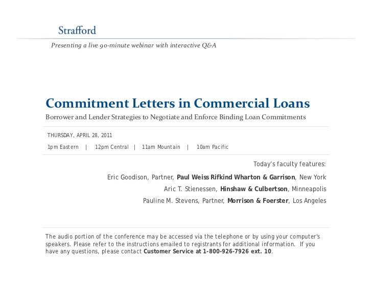 Commitment Letters In Commercial Loans Borrower And Lender Strategies