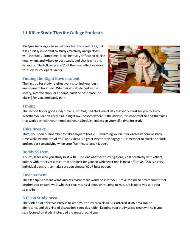 11 killer study tips for college students