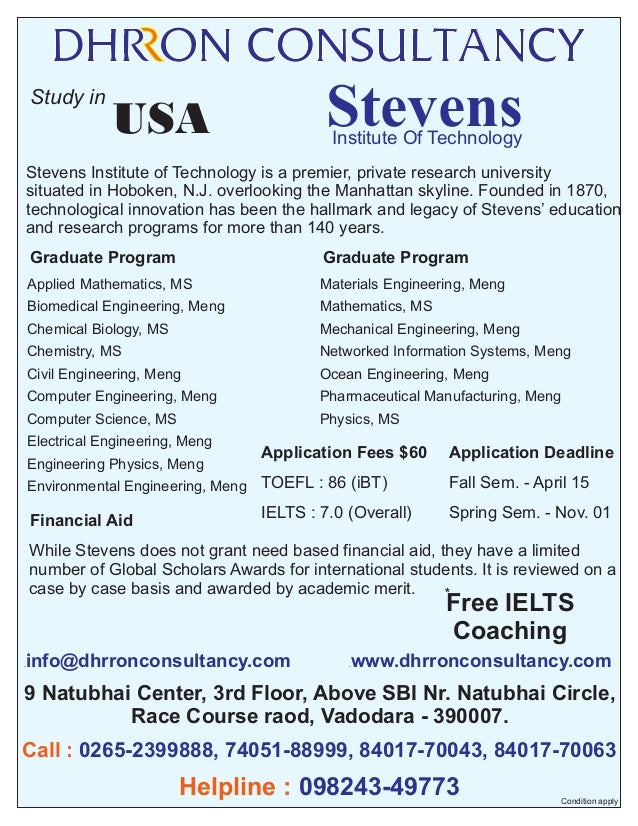 Study in  Stevens  USA  Institute Of Technology  Stevens Institute of Technology is a premier, private research university...