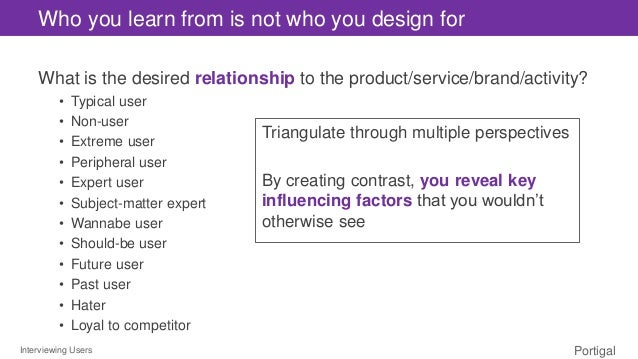 Interviewing Users Portigal Who you learn from is not who you design for What is the desired relationship to the product/s...