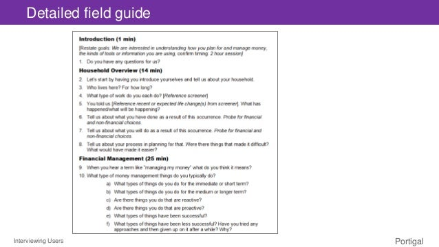 Interviewing Users Portigal Detailed field guide
