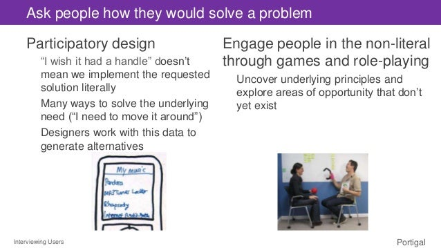 """Interviewing Users Portigal Ask people how they would solve a problem Participatory design """"I wish it had a handle"""" doesn'..."""