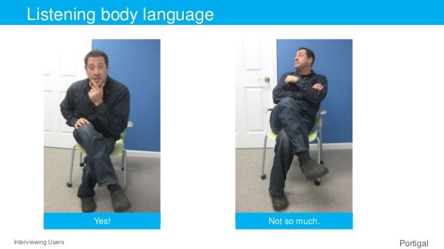 Interviewing Users Portigal Click to edit Master title styleListening body language Yes! Not so much.