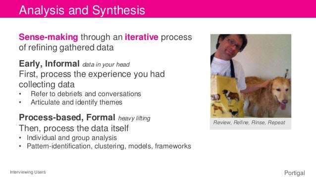 Interviewing Users Portigal Click to edit Master title style Sense-making through an iterative process of refining gathere...
