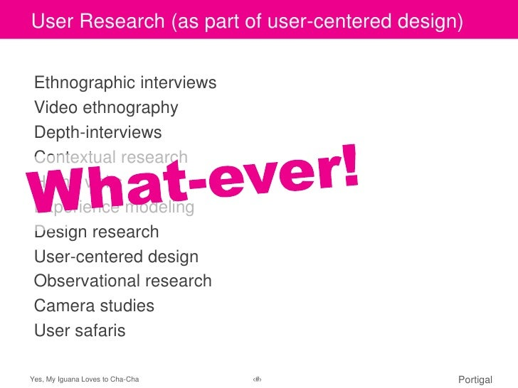 User to edit Master title of user-centered design)Click Research (as part style Ethnographic interviews Video ethnography ...