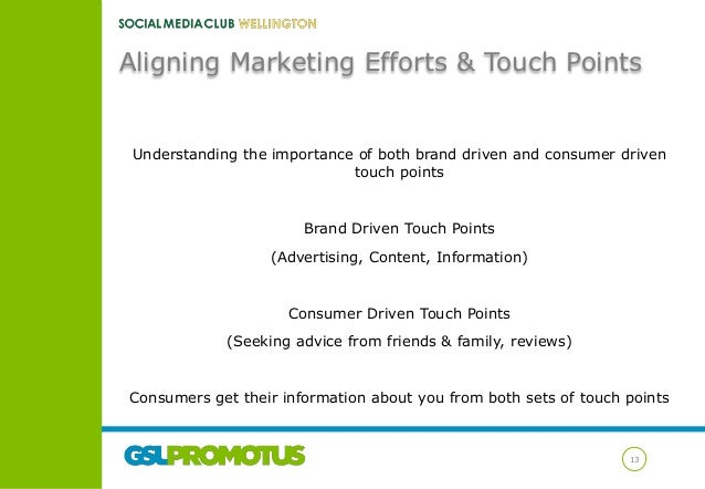 Aligning Marketing Efforts & Touch Points  Understanding the importance of both brand driven and consumer driven touch poi...