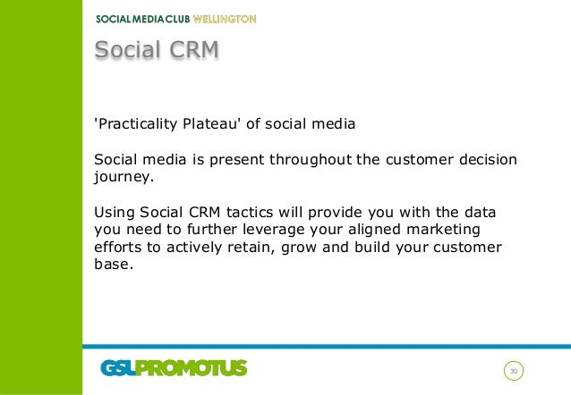 Social CRM 'Practicality Plateau' of social media Social media is present throughout the customer decision journey. Using ...
