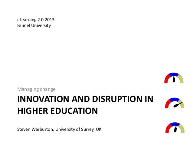 INNOVATION AND DISRUPTION IN HIGHER EDUCATION Managing change Steven Warburton, University of Surrey, UK. eLearning 2.0 20...