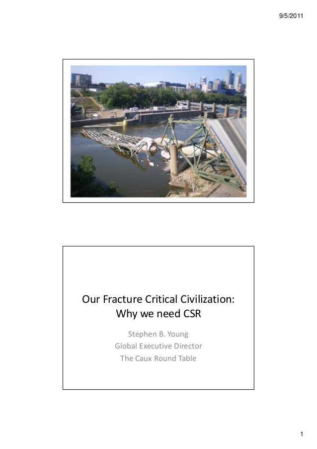 9/5/2011 1 Our Fracture Critical Civilization: Why we need CSR Stephen B. Young Global Executive Director The Caux Round T...