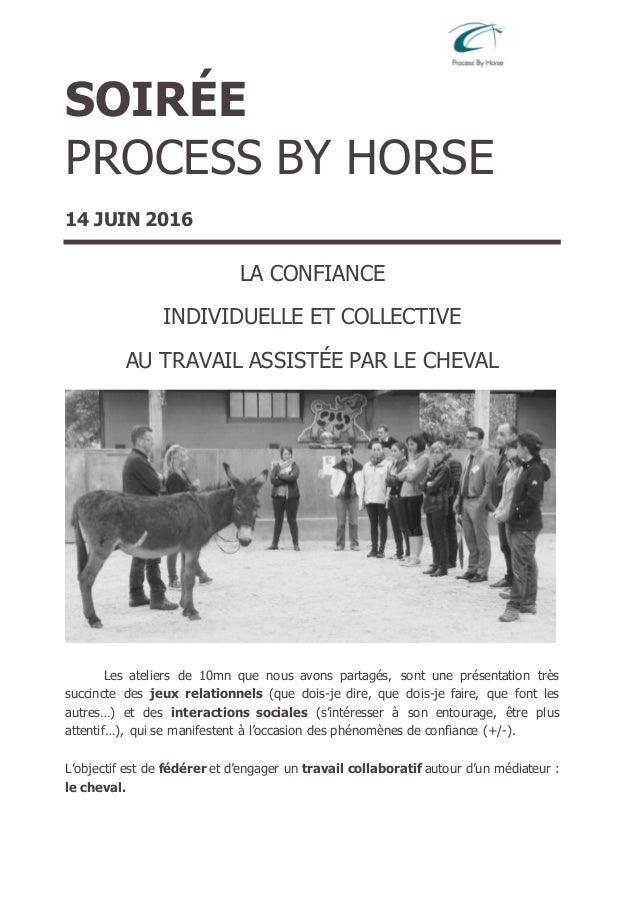SOIRÉE PROCESS BY HORSE 14 JUIN 2016 LA CONFIANCE INDIVIDUELLE ET COLLECTIVE AU TRAVAIL ASSISTÉE PAR LE CHEVAL Les atelier...