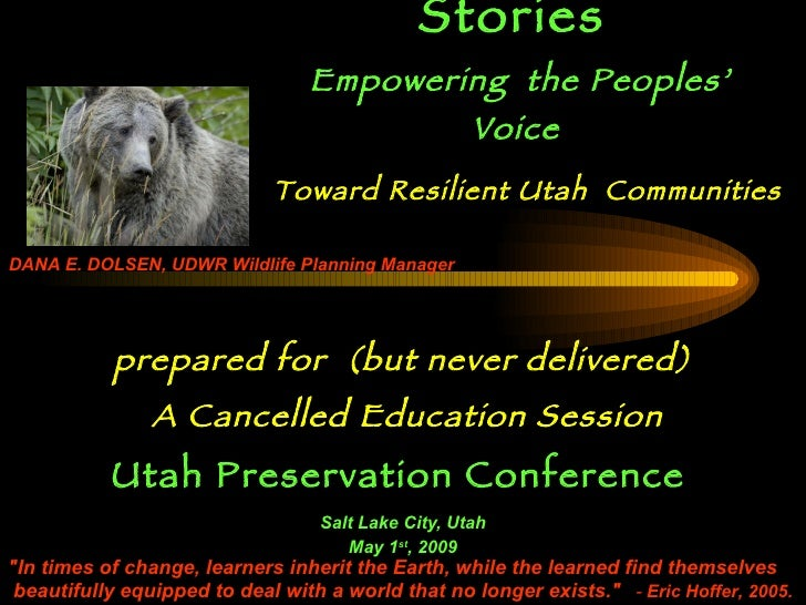 Stewardship Stories   Empowering   the   Peoples' Voice   prepared for  (but never delivered) A Cancelled Education Sessio...